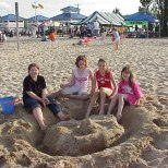 Building sandcastles are popular activities