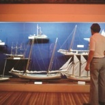 A selection of models at the Calvert Marine Museum illustrating different boats that have traveled the Chesapeake Bay.