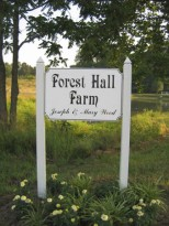 Forrest Hall Farm's sign welcomes you.
