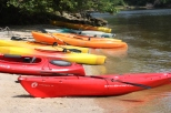 Kayaks ready to explore the Patuxent River shoreline along Greenwell State Park
