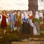 This 7 foot high by 20 foot long mural at the St. Clement's Island Museum depicts the arrival of Maryland's first European colonists.