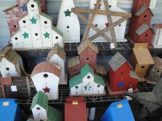 A selection of birdhouses made by local Mennonites