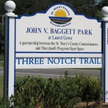 Dedicated in honor of former St. Mary's County Recreation and Parks Director, John V. Baggett, the park at Laurel Grove is a trail head on the Three Notch Trail.