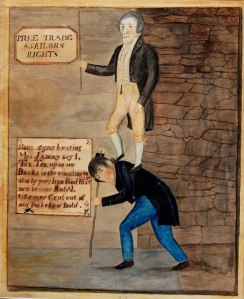 A painted political cartoon showing President James Madison and his national war burdening the common man