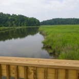The Chesapeake Beach Rail Trail is just over a mile long boardwalk over scenic Fishing Creek in Chesapeake Beach.
