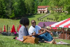 Couple picnicking in the Running Hare Vineyard -Photo Credit Clark Vandergrift, OTD