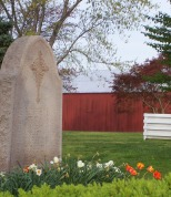 This memorial stone outside St. Francis Xavier Church lists the names of former priests.