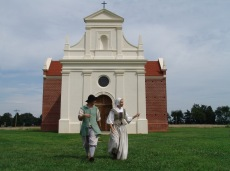The reconstructed Brick Chapel of 1667 is located at Historic St. Mary's City.