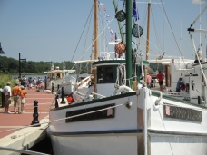 A walk along Leonardtown Wharf during the summer affords visitors an opportunity to see different types of boats tied up to the wharf.