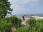 The swim beach at Point Lookout State Park